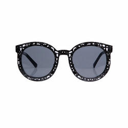 Black Round Frame Black Lens Sunglasses Sun Protection Fashion Eyewear