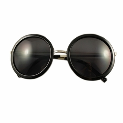 Black Round Frame Daily Sunglasses Fashion Eyewear  Perfect For Beach