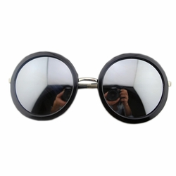 Black Round Frame Mirror Lens Daily Sunglasses Fashion Eyewear Perfect For Beach