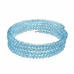 Blue Glass Bead Coil Bracelet