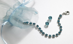 Blue Zircon Tennis Bracelet and Earring Set