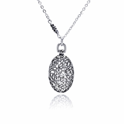Brass Cubic Zirconia Flower Pendant Necklace -