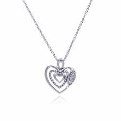 Brass Cubic Zirconia Heart Pendant Necklace -