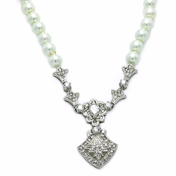 Brass Cubic Zirconia Pearl Pendant Necklace -