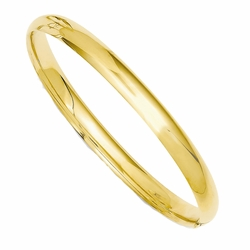 Child'S 14k Yellow Gold 5mm Wide Plain Simple Bangle Bracelet - Size: 5.5