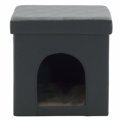 Collapsible Pet Bed and Ottoman - Black