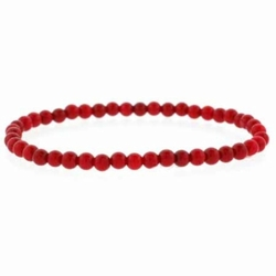 Created Red Coral Beaded Stretch Bracelet