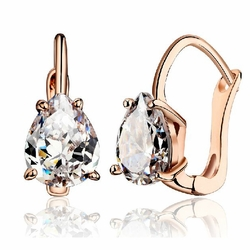 Cubic Zirconia Teardrop Cut Earrings -