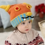 Cute Ox Horn Baby Infant Knit Crochet Winter Warm Cap Hat Orange 6-36 Months