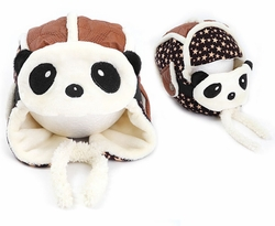 Cute Panda Baby Infant Winter Warm Cap Hat With Mask Coffee