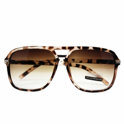 Daily Square Frame Sunglasses Brown Leopard-print Frame Gradient Lens Eyewear