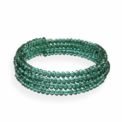 Dark Green Glass Bead Coil Bracelet
