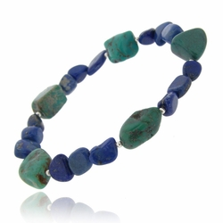 Denim Lapis, Created Turquoise Chips & Nuggets Stretch Bracelet w/ Sterling Silver Beads