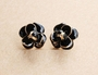 Enamel Flower Stud Earrings - Enamel Flower Stud Earrings -Color Black