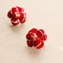 Enamel Flower Stud Earrings - Enamel Flower Stud Earrings -Color Red