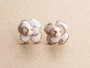 Enamel Flower Stud Earrings - Enamel Flower Stud Earrings -Color White
