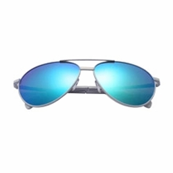 Fashion Aviator Metal Mirrored Polarized Sunglasses (Blue)