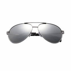 Fashion Aviator Metal Mirrored Polarized Sunglasses (Silver)