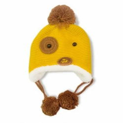 Fashion Cute Dog Design Baby Infant Knit Crochet Winter Warm Cap Hat YELLOW