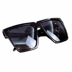 Fashion Gloss Black Frame Daily Square Frame Sunglasses Eyewear Sun Protection