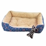 Fashion Pet Bed Pet House Rectangle Doghouse Kennel for Small Cat Dog Blue+Beige