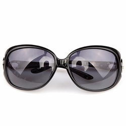 Fashion Travel Sun Protection Daily Sunglasses Oval Black Frame Beach Eyewear