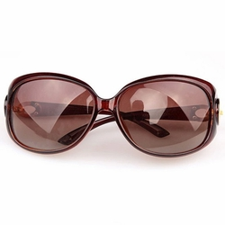Fashion Travel Sun Protection Daily Sunglasses Oval Brown Frame Beach Eyewear