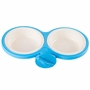 Fixable Pets Double Bowls Dogs Cats Bowls Pet Supplies Cat Accessories -Blue