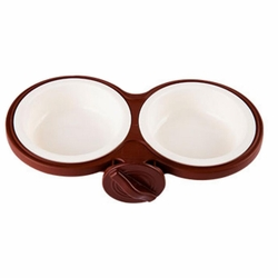 Fixable Pets Double Bowls Dogs Cats Bowls Pet Supplies Cat Accessories -Brown