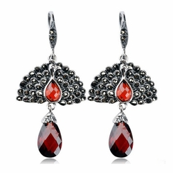 Garnet Gemstone Peacock Drop Earrings -