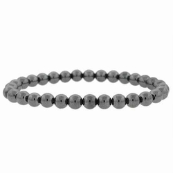 Genuine Hematite Stone 6mm Bead Beaded Stretch Bracelet