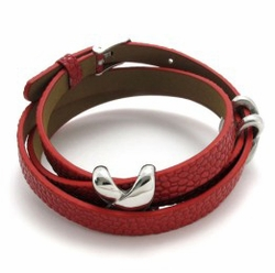 Genuine Leather Double Wrap Bracelet with X Stainless Steel Charms - Genuine Leather Double Wrap Bracelet with X Stainless Steel Charms -Color Red