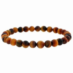 Genuine Tiger Eye Stone 6mm Bead Beaded Stretch Bracelet
