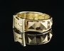 Gold Alloy Patterned Studded Pave Bracelet - Gold Alloy Patterned Studded Pave Bracelet-Color White