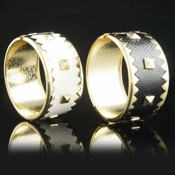 Gold Alloy Studded Leather Bracelet - Gold Alloy Studded Leather Bracelet-Color Black