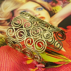 Gold Alloy Vintage Gold Swirls Bangle Bracelet -