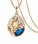 Gorgeous Long Chain Necklace Blue Gemstone Rose Shaped Women