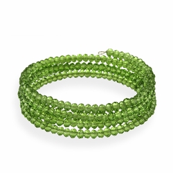 Green Glass Bead Coil Bracelet