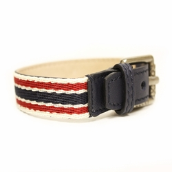 GUCCI Traditional Green/Red Web Unisex Buckle Bracelet Blue Leather -