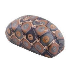 Hard Clamshell Sunglasses Eye Glasses Case/Storage Box Button Pattern Brown