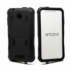 HTC Desire 510 Impact Silicone Case Dual Layer with Stand Black