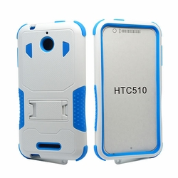 HTC Desire 510 Impact Silicone Case Dual Layer with Stand White Blue