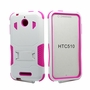 HTC Desire 510 Impact Silicone Case Dual Layer with Stand White Pink