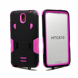 HTC Desire 610 Impact Silicone Case Dual Layer with Stand Pink