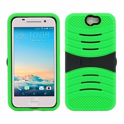 HTC One A9 Hybrid Silicone Case Cover Stand Green