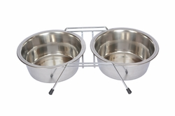 Iconic Pet Stainless Steel Double Diner with Wire Stand for Dog or Cat 3 Qt 96 oz - 12 cup