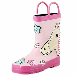 Infant Rainy Day Wear Toddler Rain Shoes Baby Rain Boot Rubber Shoes Horse PINK