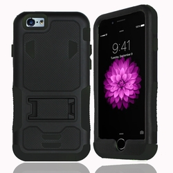IPhone 6 / 6S Impact Silicone Case Dual Layer with Stand Black