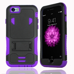 IPhone 6 / 6S Impact Silicone Case Dual Layer with Stand Purple