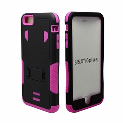 IPhone 6 / 6S Puls Impact Silicone Case Dual Layer with Stand Pink